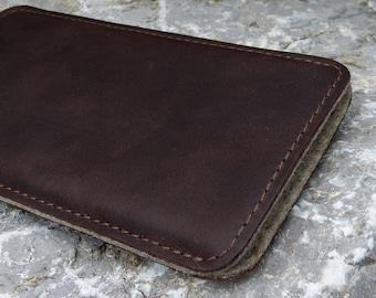 "iPhone 5 Sleeve, iPhone SE Case, iPhone 4 Pouch SlimLine ""Mokka"" Vegetable tanned Leather, Woolfelt"