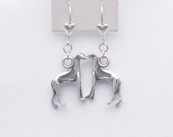 Sterling Silver Italian Greyhound Earrings by Donna Pizarro from her Animal Whimsey Collection of Custom Italian Greyhound Jewelry