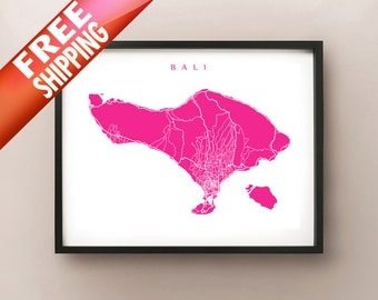 Bali Map Print - Indonesia Art Poster - Home Decor