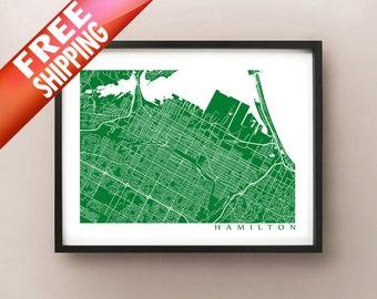 Hamilton Map Print - Ontario, Canada Poster