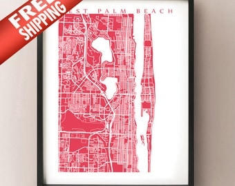 West Palm Beach Map Print - Florida Poster