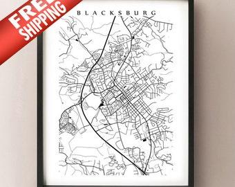 Blacksburg Map Art - Virginia Poster Print - Black and White Wall Decor