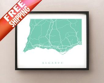 Algarve Map Print - Portugal Art Poster