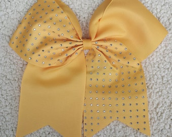 Cheer Bow/ Cheerleader Bow/ Cheerleading Bow/ Cheerleader Gift/ Hair Bow/ Bow/ Half Rhinestone Athletic Gold Yellow Cheer Bow Cheerleading