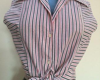 50s Cotton Stripe Shirt Blouse