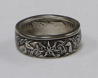 Coin Ring made from Australia silver 50 cent coin  size 9,10,11,12,13 OR 14