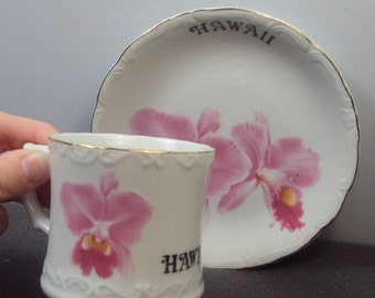 SALE ENDS SUN Tajima China Pink Hibiscus Hawaii Souvenir Teacup & Saucer