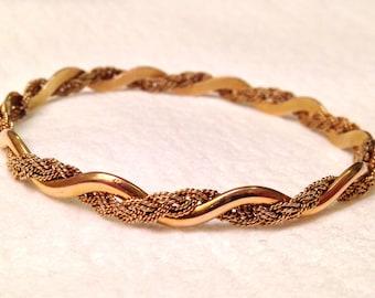 SALE- Estate 14k 585 Art Nouveau Braided Woven Scalloped Bangle Bracelet- Unique!