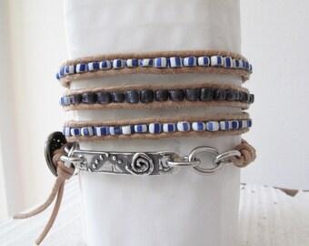 4-Wrap Sterling & Trade Bead Bracelet