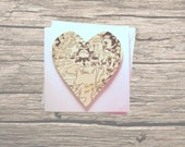 Fantastic Mr Fox greeting card: heart shaped card made with original illustrated book pages. Ideal birthday card, best friend card.