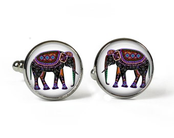 ELEPHANT - Glass Picture Cufflinks - Silver Plated (Art Print Photo AF17)