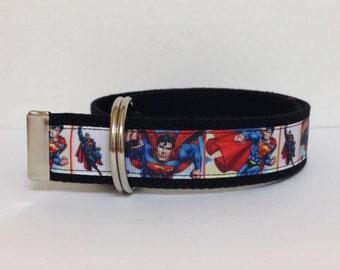 Super Hero Boys Belt - Superman Belt - Boys Belt - D Rings Belt - Webbing Belt - Kids Belt - Toddler Belt - Velcro Belt