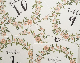 Wedding table number cards - Peach and Sage