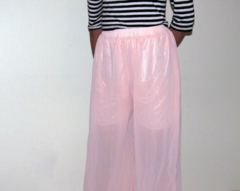 SALE Vintage Baby Pink High Waisted Sheer Culottes (Small-Medium)