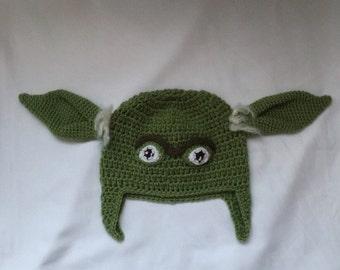 Yoda Hat - Crochet Star Wars Yoda Costume Hat - Kids Star Wars Costume - Comic-Con Costume - Baby Cosplay - Baby Star Wars - Newborn