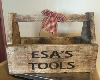 Personalized Primitive Wood tool box