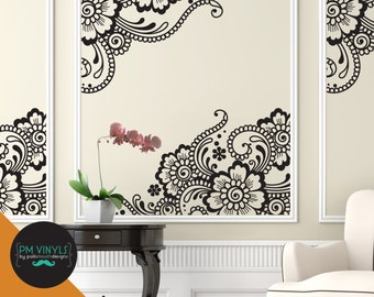Corner Lace Vinyl Wall Decals - GIR001