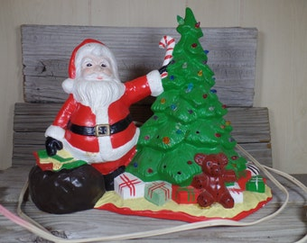 Working 1979 Cramer Mold Santa With Christmas Tree And Presents Christmas Tree Decoration Christmas Ornament Hand Painted Christmas Decor
