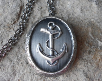 Antiqued Silver Anchor Locket!!! High Quality - Cruise - Vacation - Nautical, Naval, Navy  - Navy Wife - Photos, Keepsakes, Christmas