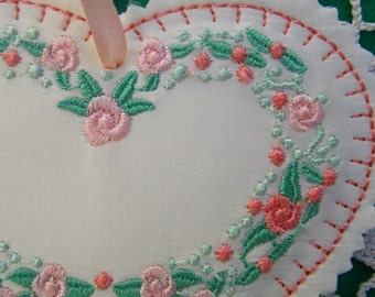Christmas ~ Valentine ~ Wreath ~ Easter Silk Heart Ornament ~ Decoration Machine Embroidered Peach ~ Coral ~ Green Floral