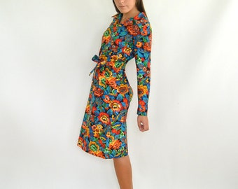Vintage 1960's Fitted Dress Fall Colors Pixilated Graphic Floral Print Dress Fashioned by Patty