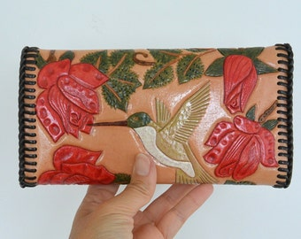 Vintage Hand Tooled Leather Colorful Clutch Hummingbird Red Flowers and Elk with Antlers Tri Fold Mint Condition