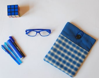 Checkered blue Ipad cover – blue fabric Ipad sleeve - tablet case