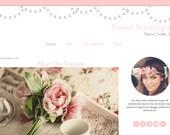 Pink Blogger Template - Vintage Flower Blog Template - Mobile Responsive Blogger Template
