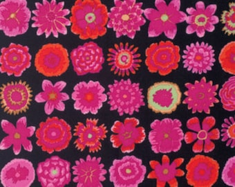 Kaffe Fassett Collective Button Flowers Black - 1/2yd