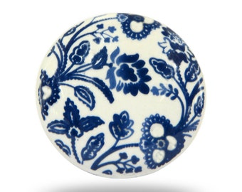 Kitchen Cupboard Door Knob in White with Blue Floral Print, Modern or Traditional Flower Ceramic Cabinet Handle or Dresser Drawer Pull