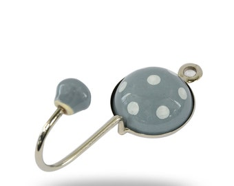 Modern Grey Wall Hanger with White Polka Dots, Unique Functional Coat Hook for an Entryway or Hall Way, Decorative Bathroom Towel Hook