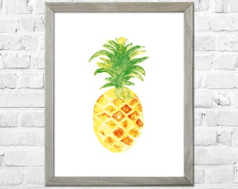 Pineapple Art Print, Pineapple Watercolor Painting, Kitchen Decor, Pineapple Wall Art, Pineapple Art, Pineapple Decor, Kitchen Art