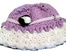 Baby hat, girl Easter, hat, purple and whitehat, sunday hat