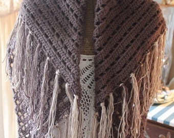 Made to Order: Prayer Shawl, Crochet Shawl, Crochet Wrap, Triangle Shawl, Healing Wrap, Cozy, Shawl, Shawl with Fringe, Taupe, Gift for her,