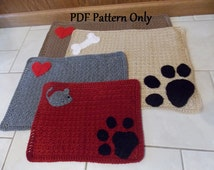 Custom Pet Placemats - Crochet with Bones, Hearts and Paw Prints