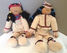 "Vintage Handmade Cloth Indian Dolls-18"" Each-Yarn Hair"