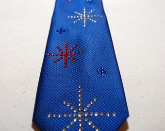 Red, white and blue rhinestone necktie
