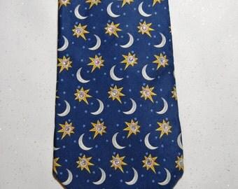 Moon and star burst rhinestone necktie