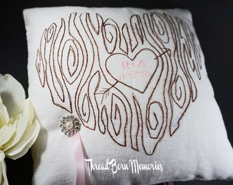 Rustic Sweetheart Tree Wedding Ring Bearer Pillow - Choose Your Own Color Combinations