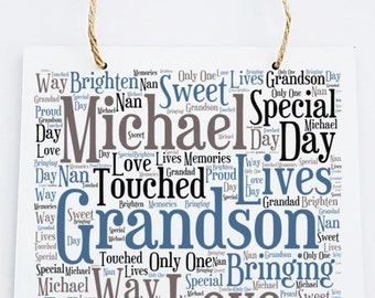 Personalised Grandson Word Art Wooden Hanging Plaque.