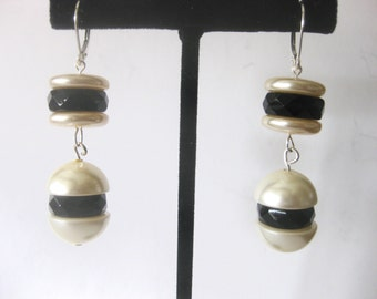 Pair of Art-Deco Faux  Pearl & French Jet Earrings