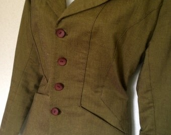 vintage 1940s ladies skirt blazer jacket suit wartime vogue green brown 12 M