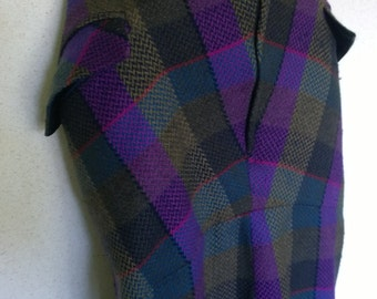 GORGEOUS ladies Winter skirt multi coloured checked tartan woolen pencil straight 60s inspired