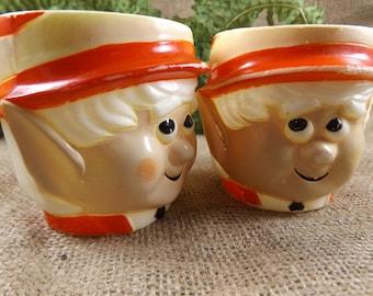 Vintage 1972 Keebler Elf Mugs Two Plastic Keebler Elf Cups Keebler Company