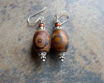 Handcrafted Dzi Agate Bead Earrings