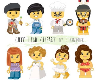 Cute Lego clipart : Instant Download PNG file - 300 dpi
