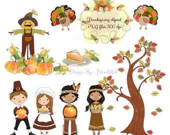 Thanksgiving Clipart - Digital Thanksgiving Clipart - PNG file Instant Download
