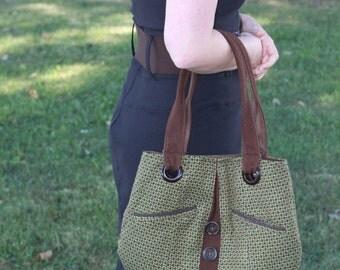 purse,handbag,wool,handmade,repurpose,recycle,green,pockets,travel bag, shoulder bag