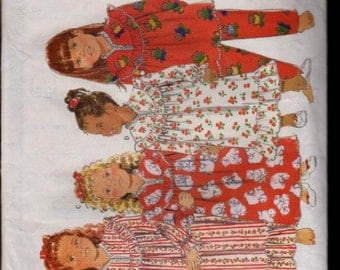 Butterick Pattern 5224 Girls Nightgown, Top & Pants  UNCUT Size: 2-3-4-5