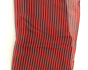 Vintage Red and Black Stripes Shear Scarf